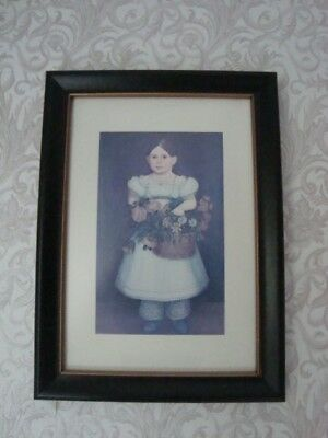 Framed Colonial Girl With Basket of Flowers New England Folk Art 8.5 x 11.5