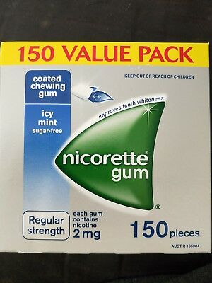 NEW Nicorette Gum regular Strength Coated Icy Mint 2mg 150 Pack
