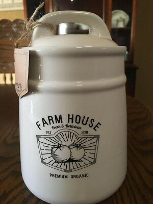 Farm House Collection Vintage Inspired Canister Ceramic Jar Lid with Handle New