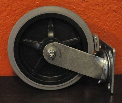 "8"" TPR Rubber Gray Non-Marking Wheel Swivel Caster With Wheel Brake part# 760020"