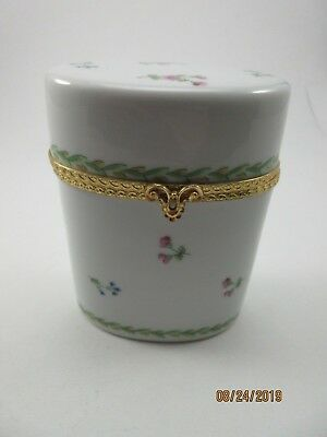 Limoges Trinket Box Hand Painted Oval Case Shape Pink Flowers