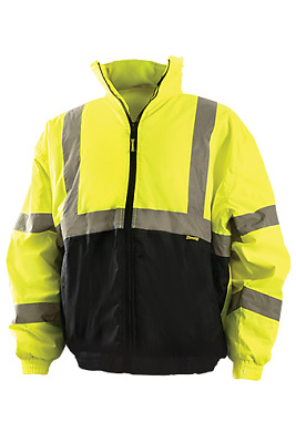 OccuNomix Class 3 Reflective Safety Bomber Jacket with Black Bottom, Yellow/Lime