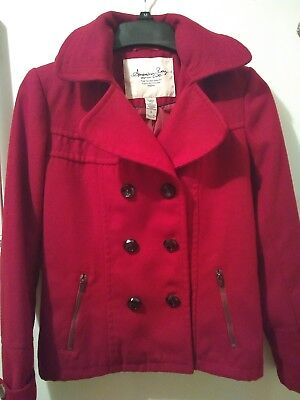 86502f83c American Rag Women s Peacoat Hooded Red Jacket Double Breast Lined Size  Small