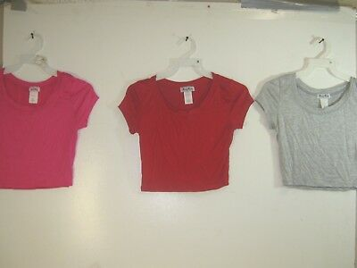Wholesale Lot of 3 Women's Crop Tops - Pink, Red & Grey - Small
