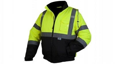 Pyramex Hi-Vis Lime Bomber Jacket Witih Quilted Liner, Class 3, RJ3210XL