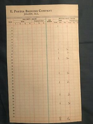 Joliet Illinois E. Porter Brewing Brewery  Beer Inventory Sheet Document 1910