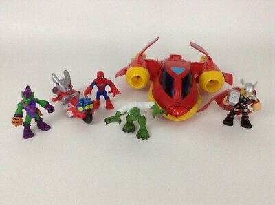 Playskool Heroes Marvel Superheroes Lot 6pc Spider-Man Thor Toy Figures Vehicles