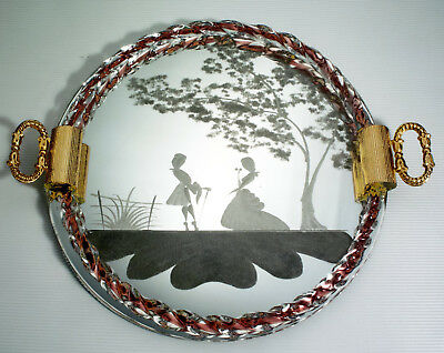 Vintage Murano Etched Vanity Mirror Tray Hand N Gl Ribbon Gold 13 Mint