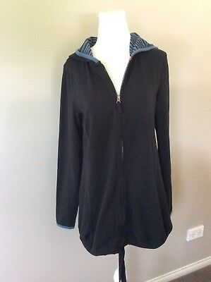 Esprit Maternity Long Sleeve Black Hooded Hoodie Jacket Size S Small EUC