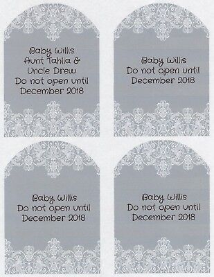 SET OF 6 X PERSONALISED 89 x120.7MM GREY LACE  WINE BOTTLE LABELS