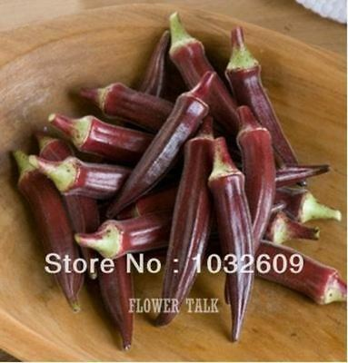165 Pcs Red Okra Organic Vegetable Seeds Healthy Seed For Home Garden