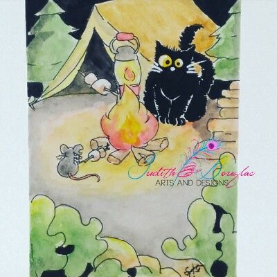 ACEO cat #238 original painting black cat mouse camp fire tent whimsical funny