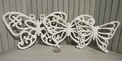 Vintage Homco Home Interiors 3 White Butterflies Wicker Look Retro Wall Decor
