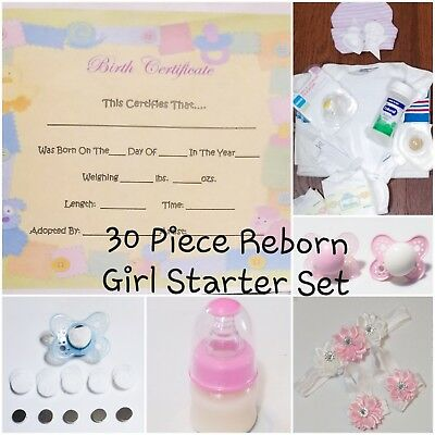 Newborn Reborn Baby Girl Accs Starter Set! Hospital Set, Pacifier, Bottle & MORE