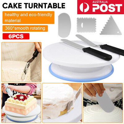 Cake Decorating Turntable Rotating Stand Comb Icing Smoother Durable Spatula AU