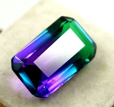 GGL Certified 13.25 Ct Ravishing Multi Color Tourmaline Emerald Cut Gem
