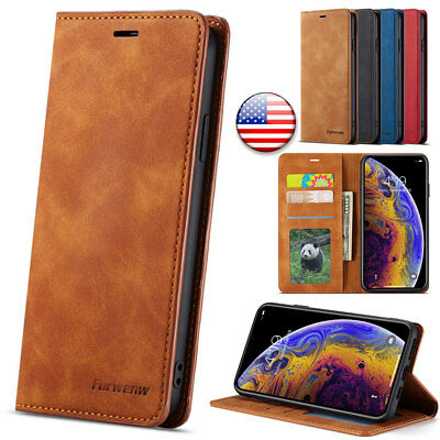For iPhone XR XS Max 6s 7 8 Plus Leather Wallet Magnetic Flip Case Cover Stand