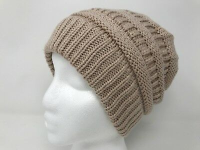 Girls Messy Bun Softest Cable Ponytail Stretchy Knit Beanie Cap Skull Winter Hat
