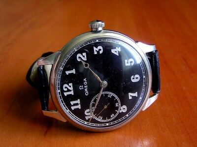 Omega 1936 Vintage Movement Branded 15 Jewels Swiss Black Military Dial