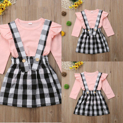 2PCS Toddler Baby Girl's Dress Outfits Tops Shirt Bow Short Skirt Clothes Set