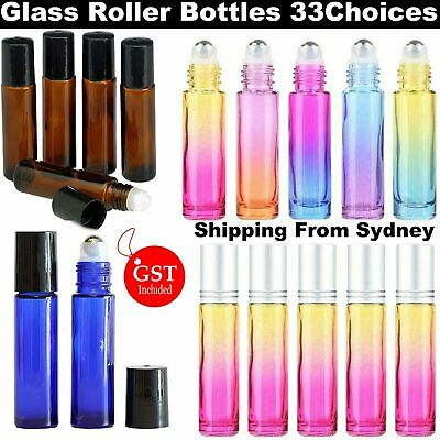 5-300x 10ml Glass Roller Bottles THICK Roll On Bottles Roller Ball Essential Oil