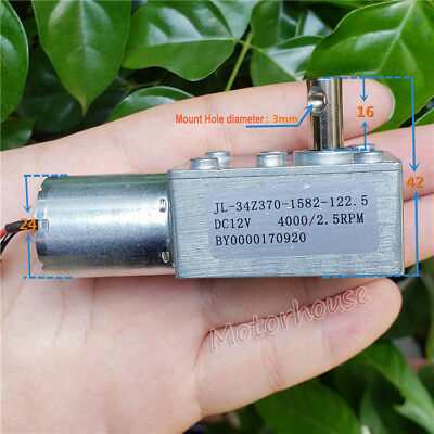 Micro 370 Full Metal Worm Gear Reducer Motor DC 12V 2.5RPM Slow Speed Low Noise