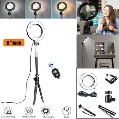 "3MODE Dimmable 8"" LED Studio Ring Photo Video Lamp Light Kit For Camera Phone UK"