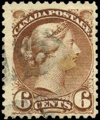 Canada #39 used F+ 1872 Queen Victoria 6c yellow brown Small Queen CV$15.00