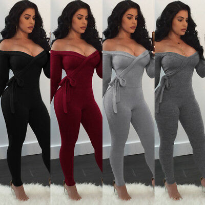 Sexy Women Off Shoulder Long Sleeves Belt Bodycon Club Party Jumpsuit Bodysuits