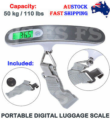 Electronic Portable Digital Luggage Scale Weigh Hanging Travel 50 Kg Black/white