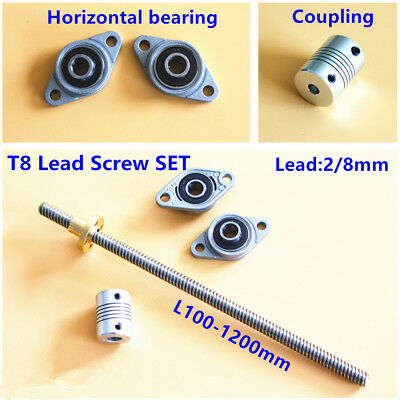 100-1200mm T8 Lead Screw Lead 2/8mm w/nut + Bearing Support & Coupler 3D Printer
