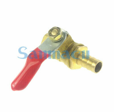 "1/4"" BSP Female to 8/10mm Hose Barb Brass Ball Valve Red lever handle"