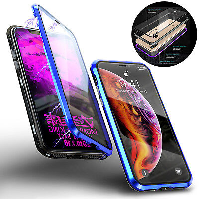For iPhone XS Max XS Luxury Magnetic Metal Frame Tempered Glass Full Case Cover