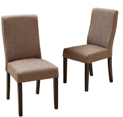 Fabulous Set Of 2 Dining Chair Taupe Brown Fabric Hardwood Modern Mid Theyellowbook Wood Chair Design Ideas Theyellowbookinfo