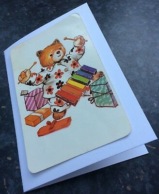 Teddy Bear Birthday Greetings Card. Large Vintage Playing Card. Making Music