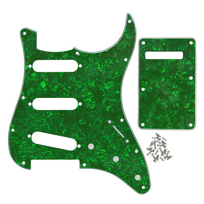 Strat Guitar SSS 11 Holes Pickguard Scratch Plate Back Cover 4 Ply Pearl Colors