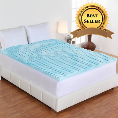 Queen Size Cooling Foam Bed Mattress Topper Soft Convoluted 2 Orthopedic NEW