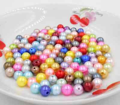 4 6 8 20 10mm loose mixed abs Round Resin Imitation Acrylic Chunky Pearls beads