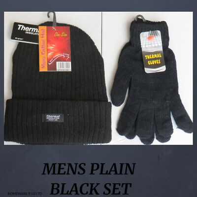 Mens Boys Plain Black Hat And Gloves Set          (((((( Winter Warmth )))))))
