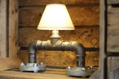 Pipe Table Light With Cream Shade