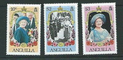 Anguilla Sg655/7 1985 Queen Mother Mnh