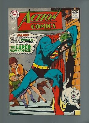 Action Comics #363 (May 1968, DC) VF 7.5 Krypton reference 12 cent cover