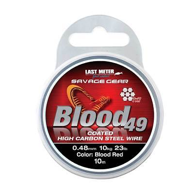Savage Gear Blood 49 Red Carbon Coated Steel Wire Pike Predator Fishing