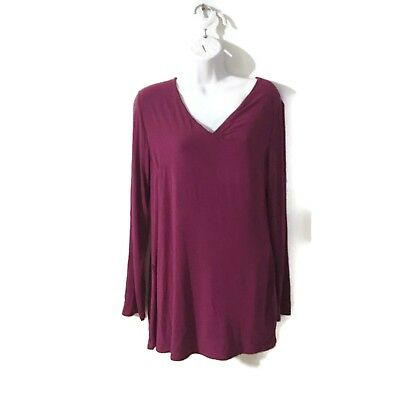 Lysse Top Womens Size M Maroon Double Layer Tummy Control Shaper Shirt
