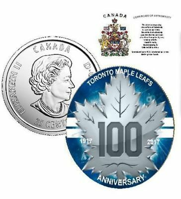 Canada 2017 25 cents TORONTO MAPLE LEAFS® 100TH ANNIVERSARY with COA