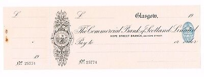 THE COMMERCIAL BANK OF SCOTLAND LTD, dated Glasgow 1923, unissued cheque,