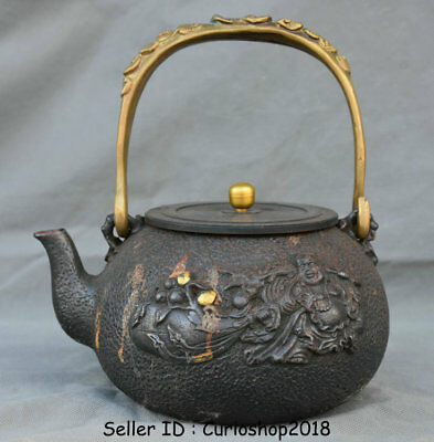 "8"" Old Japan Japanese Iron Gilt Dynasty Maitreya Buddha Portable Wine Pot Teapot"