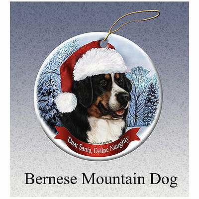 Bernese Mountain Dog Howliday Porcelain China Dog Christmas Ornament