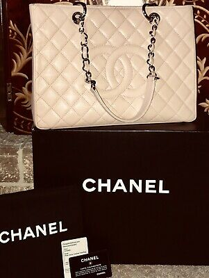 ca44ee1006327f Auth. Chanel Pink Caviar Grand Shopping Shopper Tote GST Extra Large Silver  HW