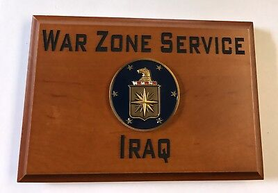 Central Intelligence Agency War Zone Service Iraq Beveled Edge Wall Plaque